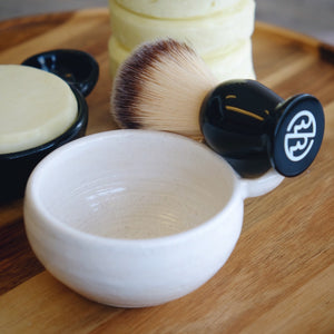 Ceramic Lathering Bowls with Shave Puck