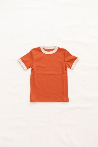 Vintage Tee - Solid Colors - Red Rock with Oatmeal Trim