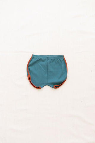 Vintage Track Shorts - Solid Colors - Peacock with Red Rock Trim