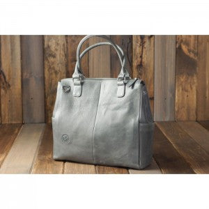Oemi Leather Diaper Bag Grey
