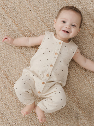 Quincy Mae Woven Button Jumpsuit Natural