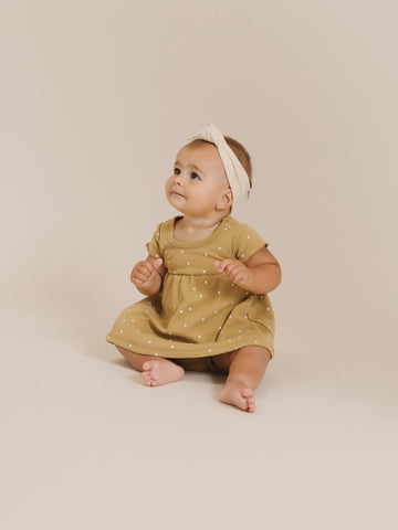 Quincy Mae Short Sleeve Baby Dress Gold
