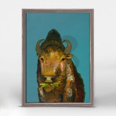 bison with grass art wall hanging