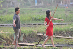 couple walking together, woman pregnant