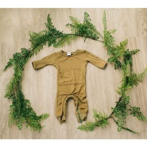 Eleanora and Co Zip Bottom Thermal Romper - Olive