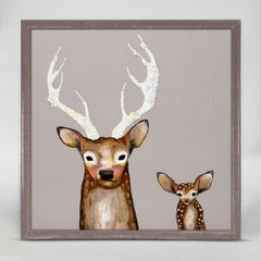frosted buck and baby small canvas wall hanging