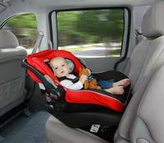 Infant sitting in a car seat