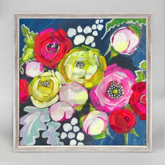 navy floral canvas art wall hanging