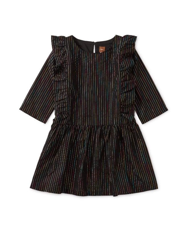 Jet Black Rainbow Metallic Ruffle Dress - TEA - Clearance