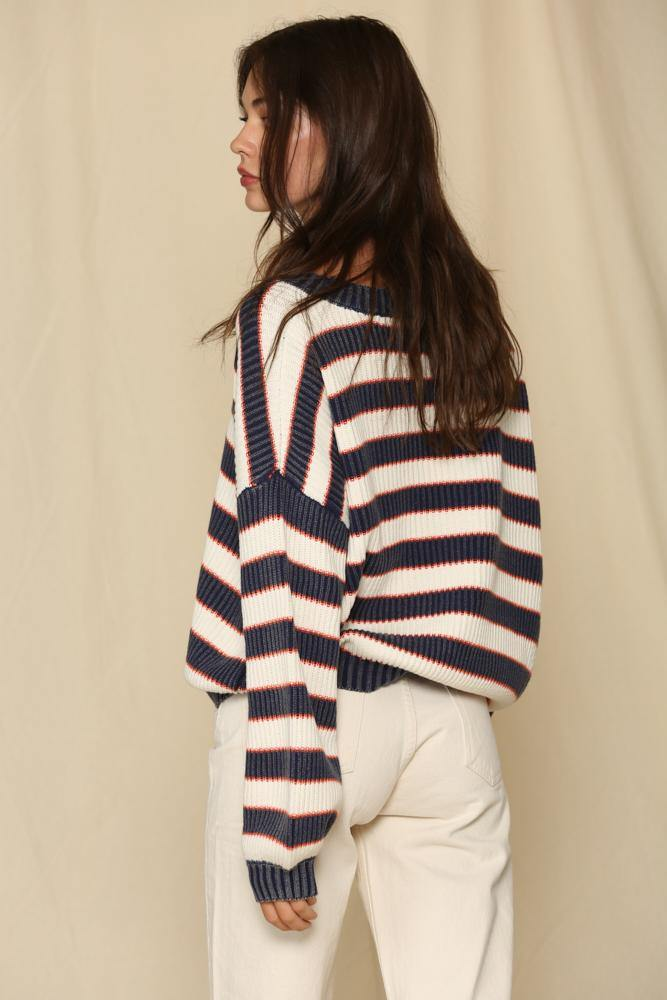 Navy White Knitted Stripe Tunic Sweater - BYTO