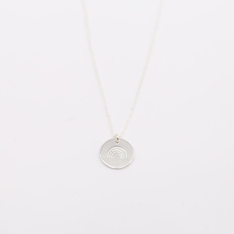"Silver Rainbow 1/2"" Disc Necklace - MBM"