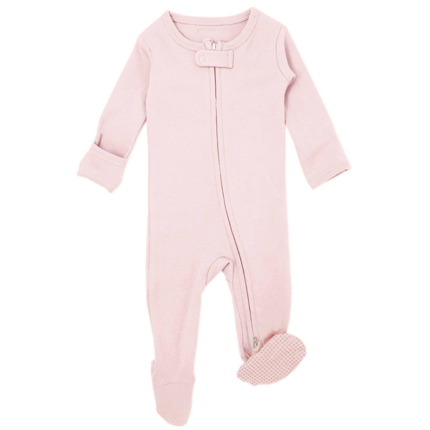 Organic Zipper Footie - Blush - LVDB