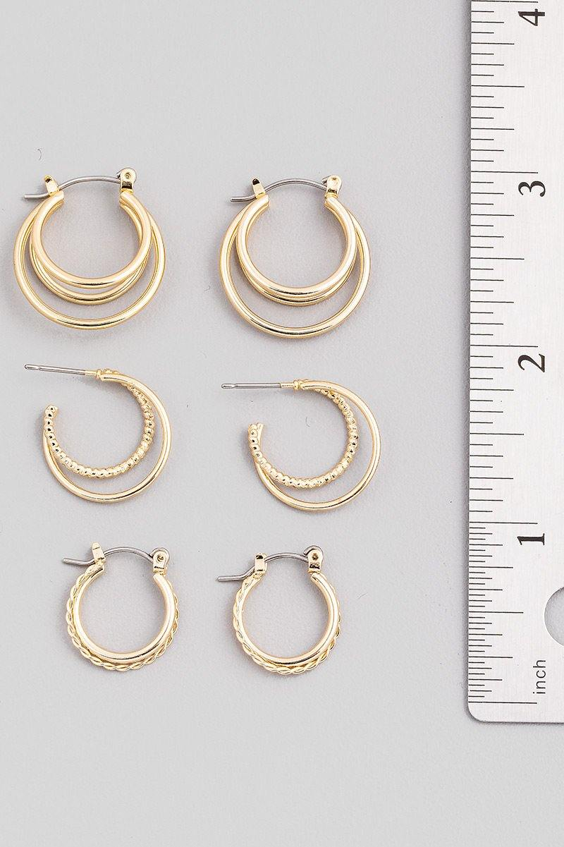 Layered Metallic Hoop Earrings Set - Gold - FAME