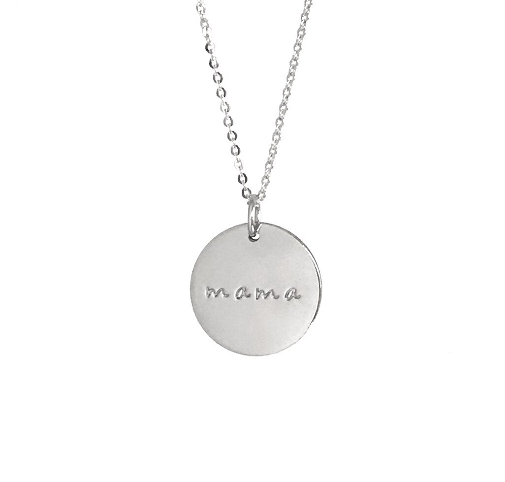 "Silver Mama 5/8"" Disc Necklace - MBM"