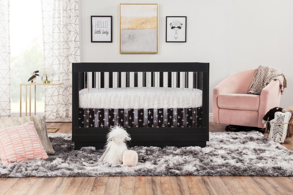 Harlow Acrylic 3-in-1 Convertible Crib with Toddler Bed Conversion Kit - BLET