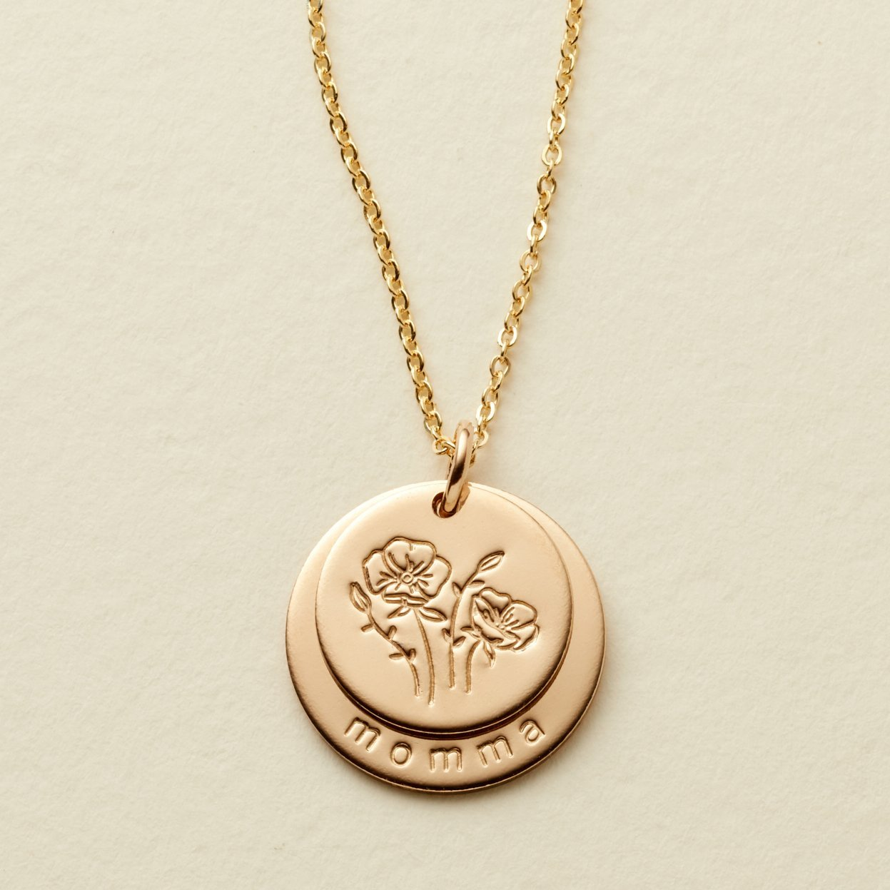 Gold Filled Nora Disc Necklace - Momma and August Flowers - MBM