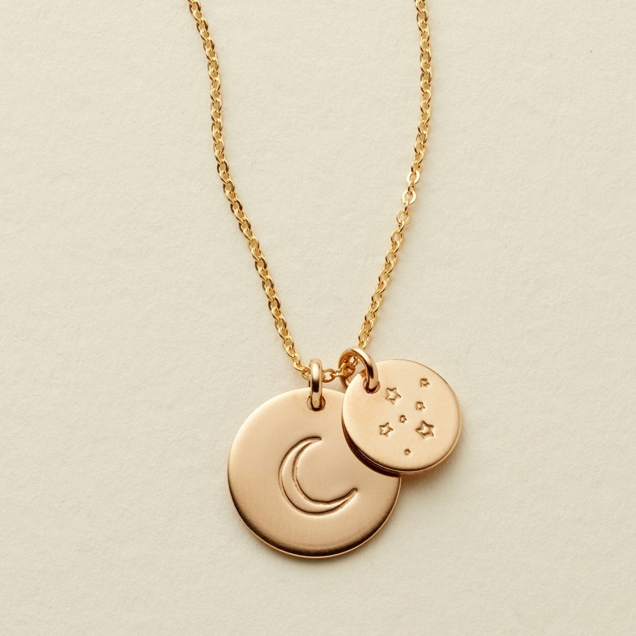 "Gold Filled Moon and Stars 1/2"" and 3/8"" Disc Necklace - MBM"