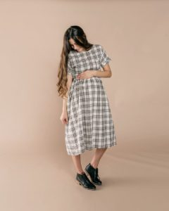 Check Kat Dress in Ivory/Black and Women's Check Kat Dress in Ivory/Black