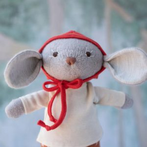 Organic Animal Doll - Oliver Mouse in Natural Shirt and Fawn Spots Pants with Bonnet