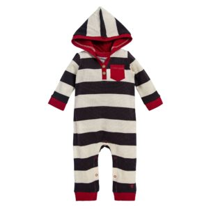 Thermal Rugby Stripe Organic Baby Hooded Jumpsuit
