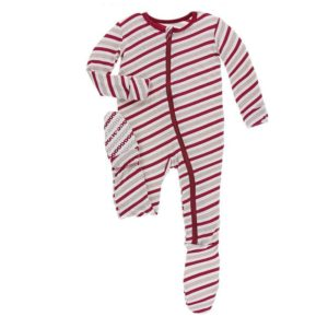 KicKee Pants Holiday Footie with Zipper - Rose Gold Candy Cane Stripe