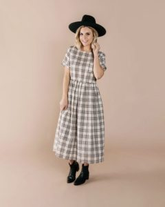 Rylee and Cru Women's Check Kat Dress in Ivory/Black