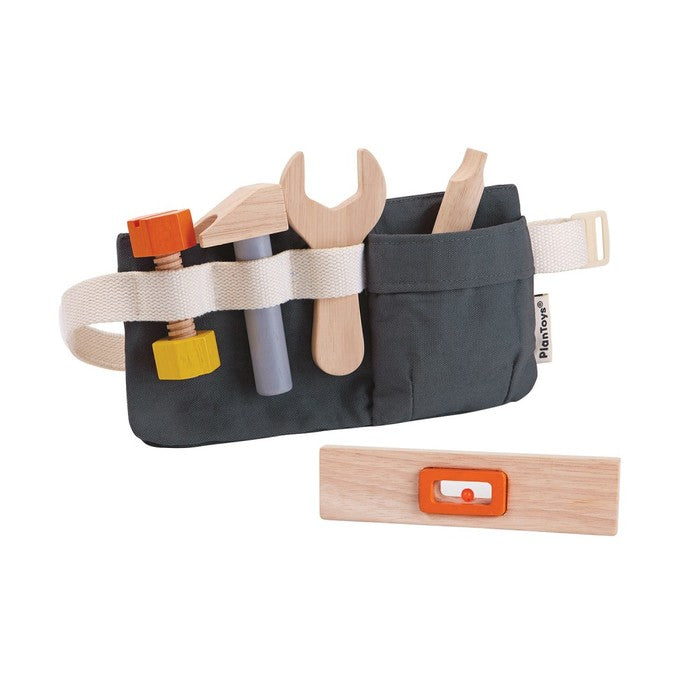 The PlanToys Tool Belt has a little fabric belt with wooden tools slid into its pockets.