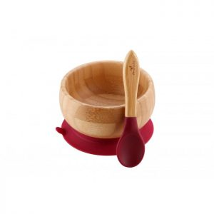 Avanchy Bamboo Suction Bowl with Spoon - Magenta