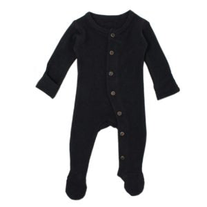 Black Organic Thermal Footed Overall by L'ovedbaby