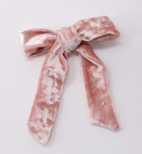 School Day Velvet Bow Clip - Vintage Rose