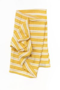 Cotton Muslin Single Swaddle - Mustard Herringbone