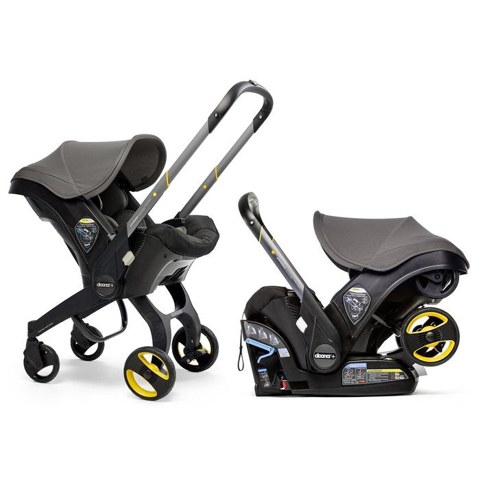 Doona infant seat in both stroller and car seat modes.