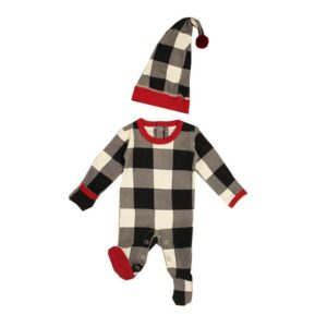 L'ovedbaby Organic Holiday Overall and Cap Set - Buffalo Check