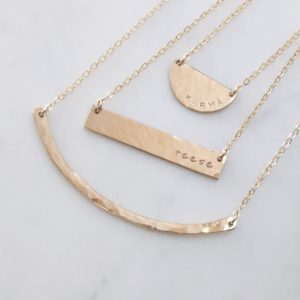 MBM Hammered Crescent Bar Necklace - Baby Cubby