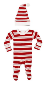 Peppermint Stripe Organic Overall and Cap Set