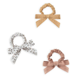 Rylee and Cru Little Bow Scrunchie Set - Honey / Dainty Leaves / Truffle and Baby Bow Headband - Truffle