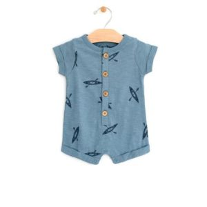 City Mouse Kayaks Rolled Short Sleeve Romper