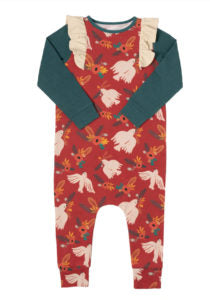 Long Sleeve Ruffle Rag Romper - Christmas Dove Floral