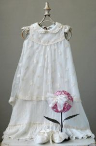 Romantique BeBe Vintage Rose Christening Gown and Headband