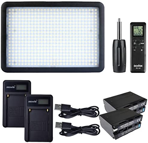 Godox LED500LC LED Video Light Panel with Remote Control + 2X 6600mAh Battery + 2X Charger