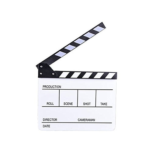 E-Image ECB-03 Professional White Big Clapper Board with White and Black Stripe Slate for Film Video Movie Film Shooting