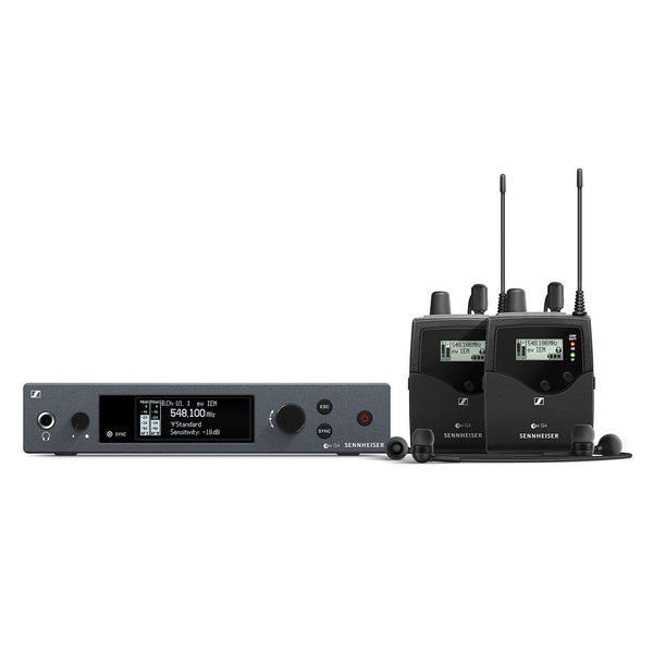 Sennheiser EW IEM G4-Twin Wireless In-Ear Monitor Set with Rack Mount TX, 2 x Body Pack RX, IE4 Ear-Canal Headphones
