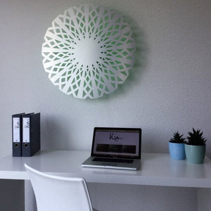Open image in slideshow, KuvaLight Amsterdam in brushed aluminium with a green light above a office desk. (80cm)