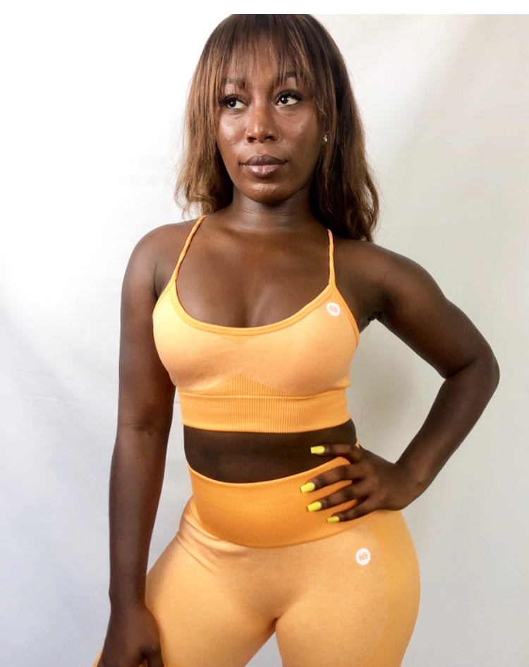 Seamless Orange Sports Bra (5569903624357)