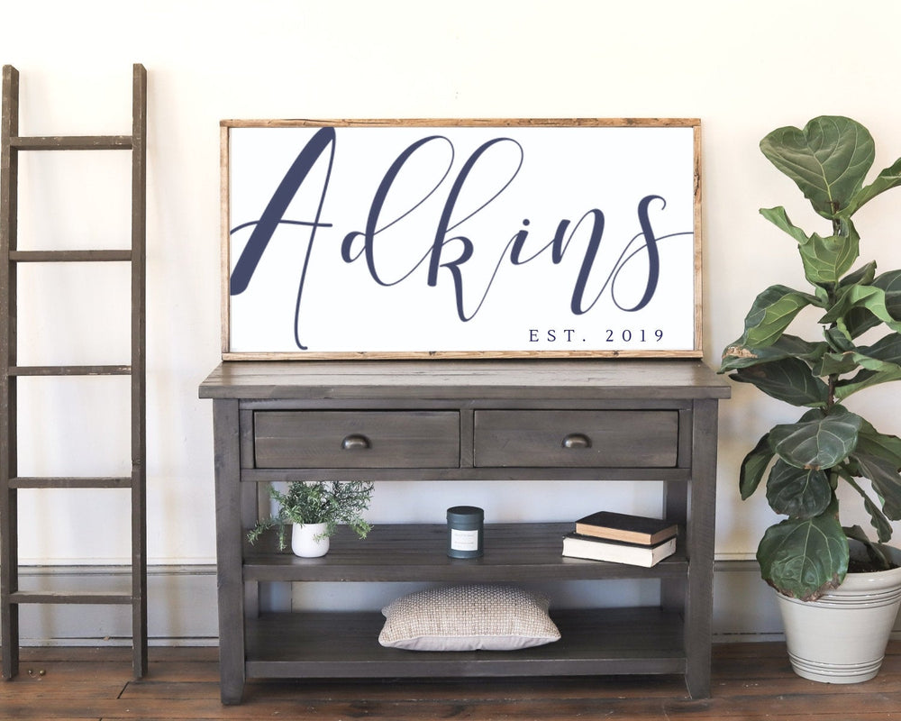 Last Name Sign. Wood Family Sign. Wedding Gift. Established sign. Farmhouse Sign.