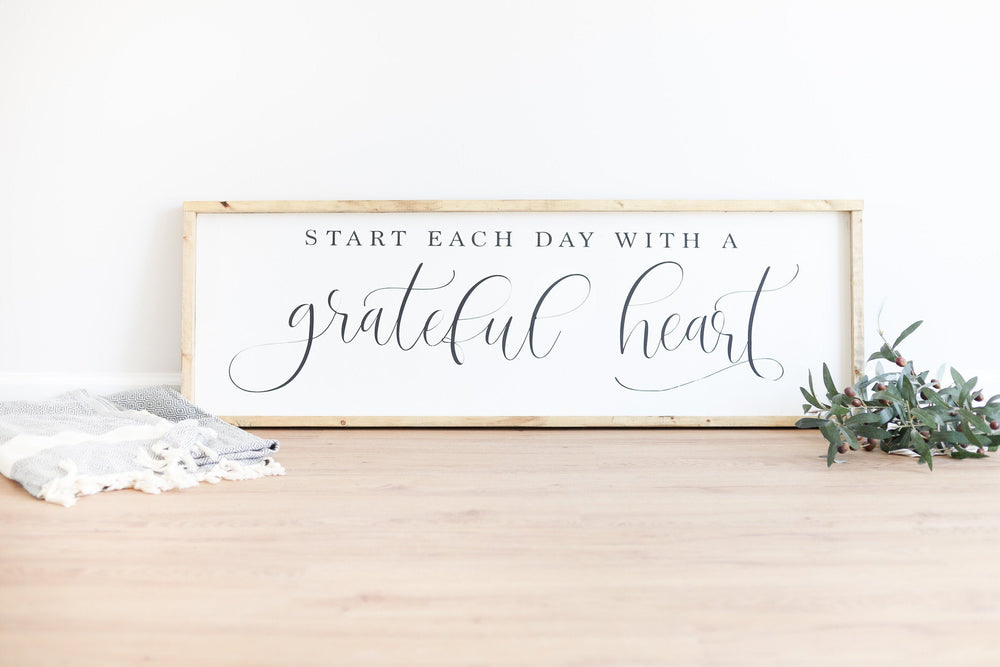 Load image into Gallery viewer, Start Each Day with a Grateful Heart | Modern Farmhouse Decor |Modern Farmhouse Wall Decor | Farmhouse Sign | Wood Framed Sign