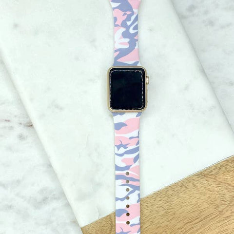 Pink & Grey Camo Printed Silicone Smart Watch Band