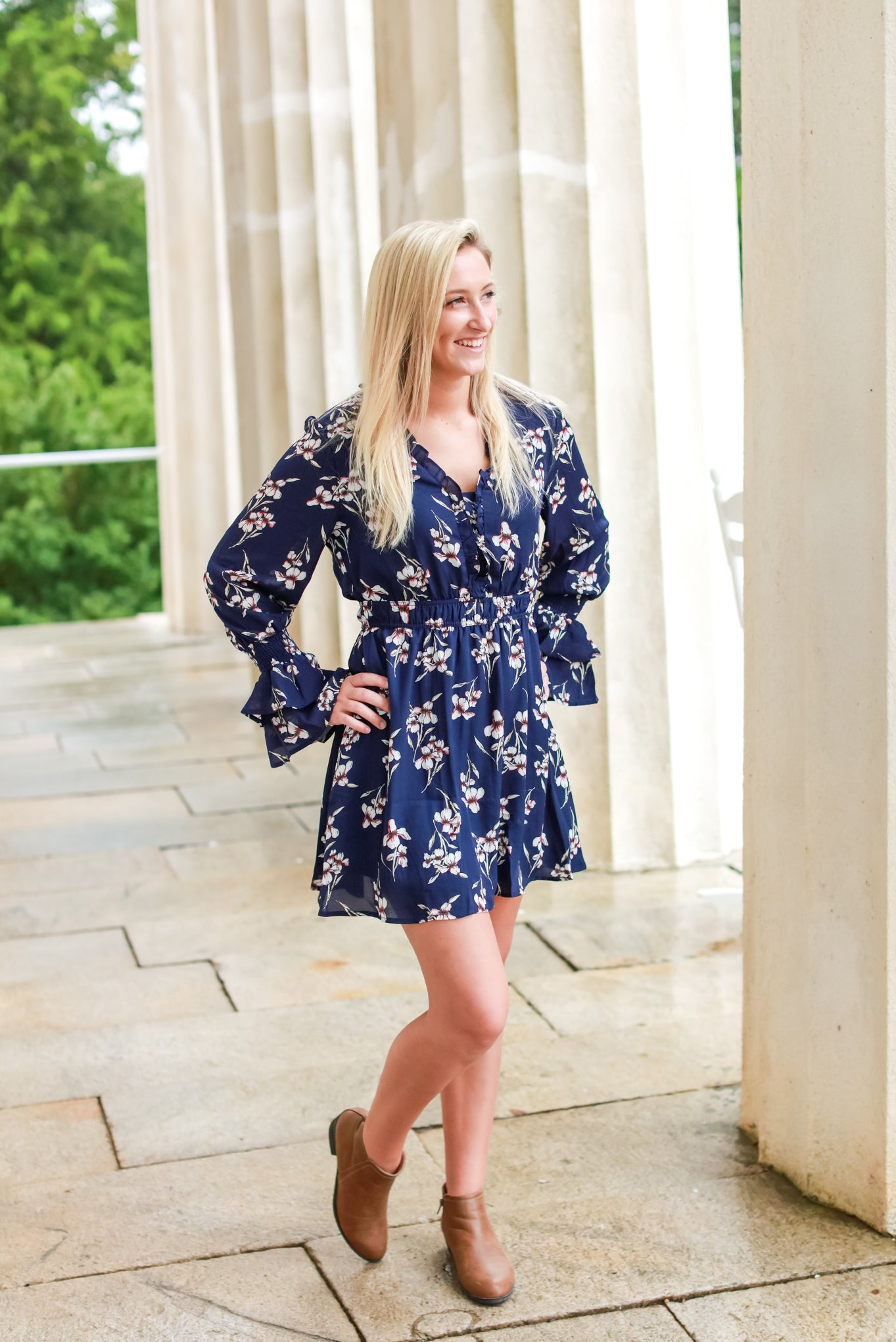 Fresh Floral Dress, Navy