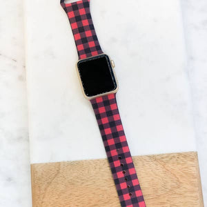 Red Buffalo Check Silicone Smart Watch Band