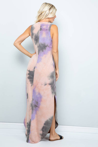 Drift Away Tie Dye Jersey Maxi Dress, Mauve Charcoal